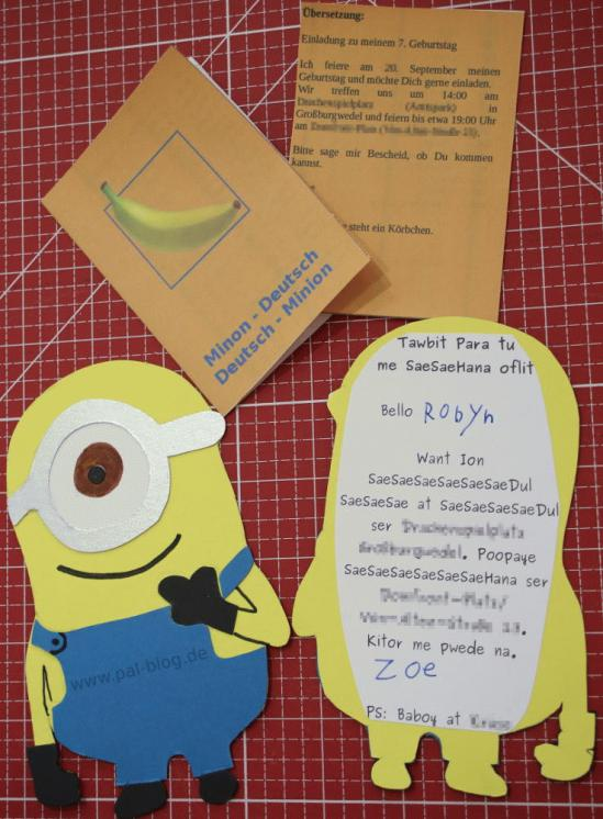 Einladung zur Minion-Geburtstagsparty - PAL-Blog